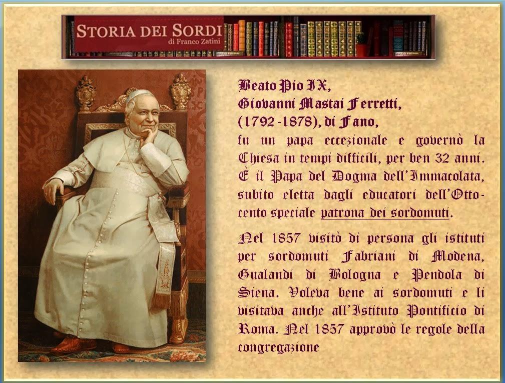 Pio IX e storia dei sordi