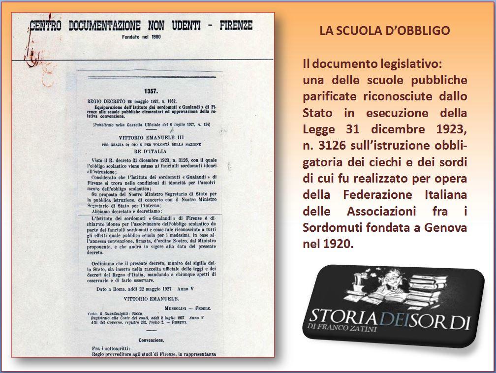 Scuola d'obbligo dei sordi e dei ciechi legge del 1923