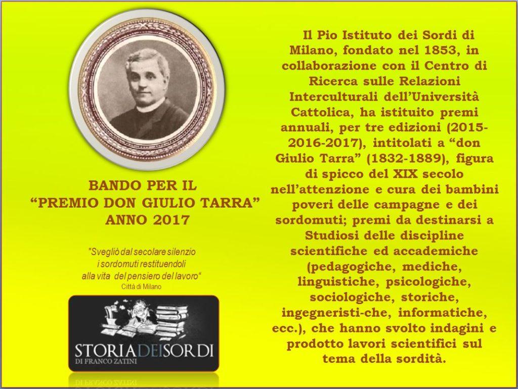 Bando Premio Don Giulio Tarra