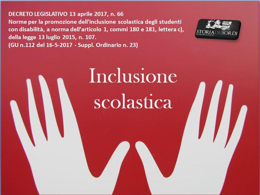 Inclusione scolastica Decreto Legsl. 13 aprile 2017 n. 66