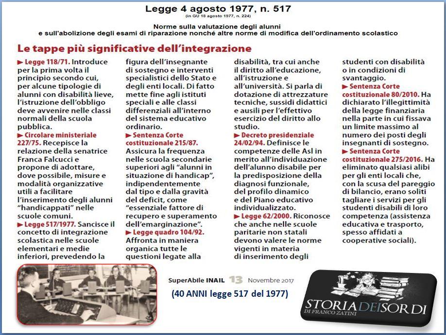 40 anni Legge 517 del 1977