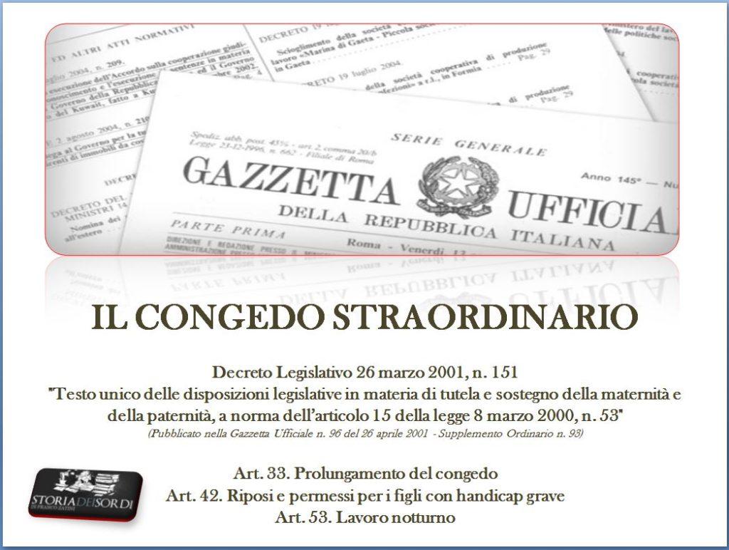 Congedo Straordinario D.Lgs, 26 marzo 2001, n. 151