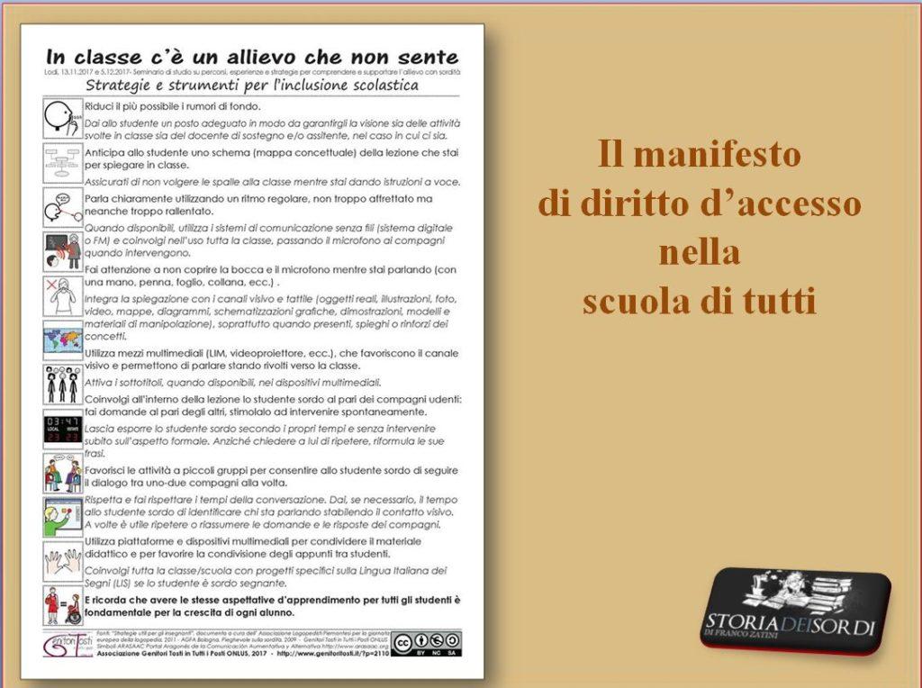 Manifesto di diritto d'accesso nella scuola di tutti