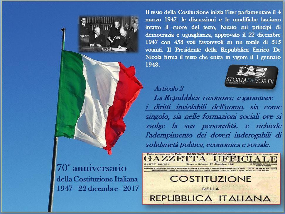 70° anniversario Costituzione Italiana art. 2