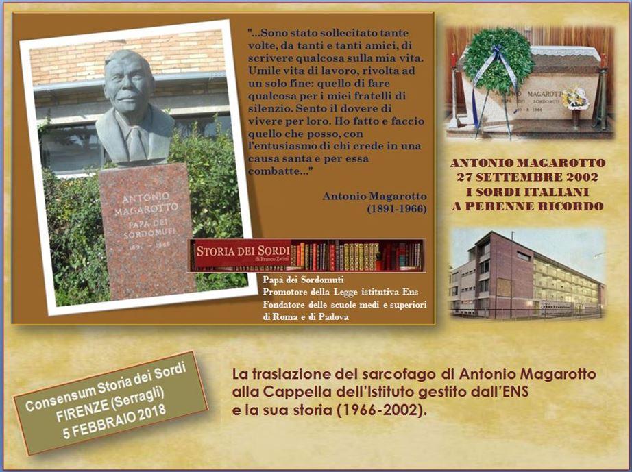Antonio Magarotto storia traslazione tomba 1966 2002