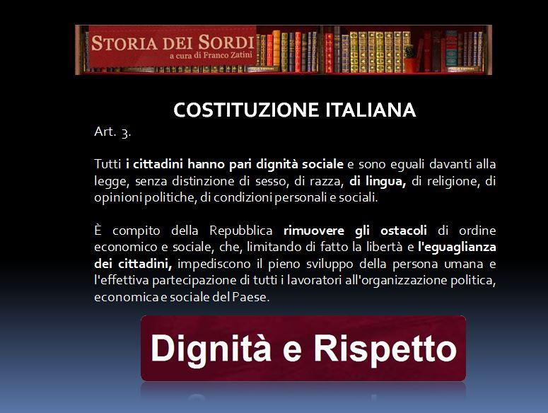 Costituzione italiana art. 3 storia dei sordi