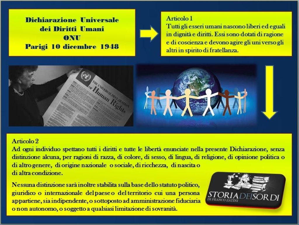 Dichiarazione Universale dei Diritti Umani ONU 10 dicembre 1948