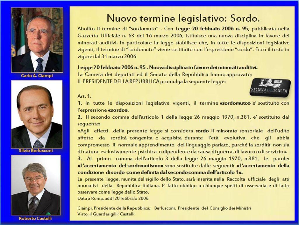 Termine legislativo Sordo Legge 95 del 2006