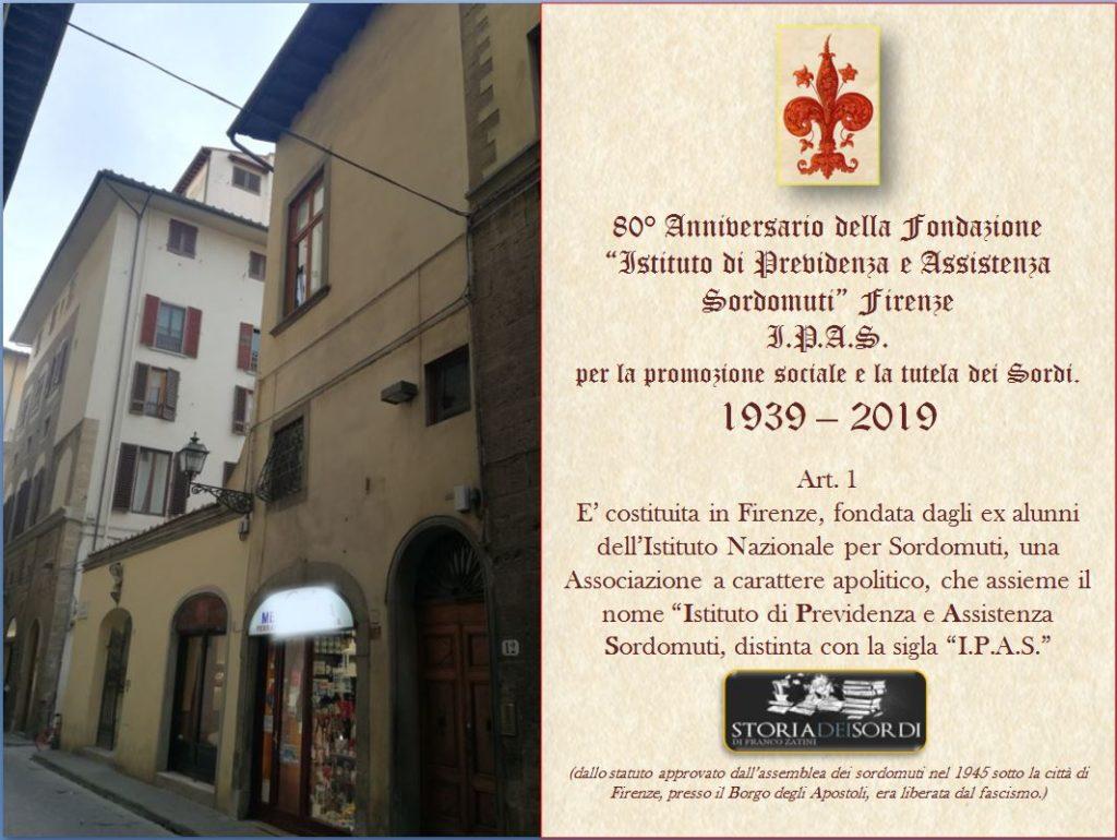 I.P.A.S. 80 anni fondazione Firenze