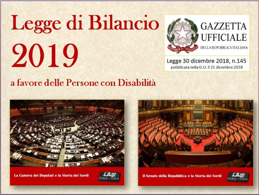 Legge di Bilancio 2019 e sordi italiani
