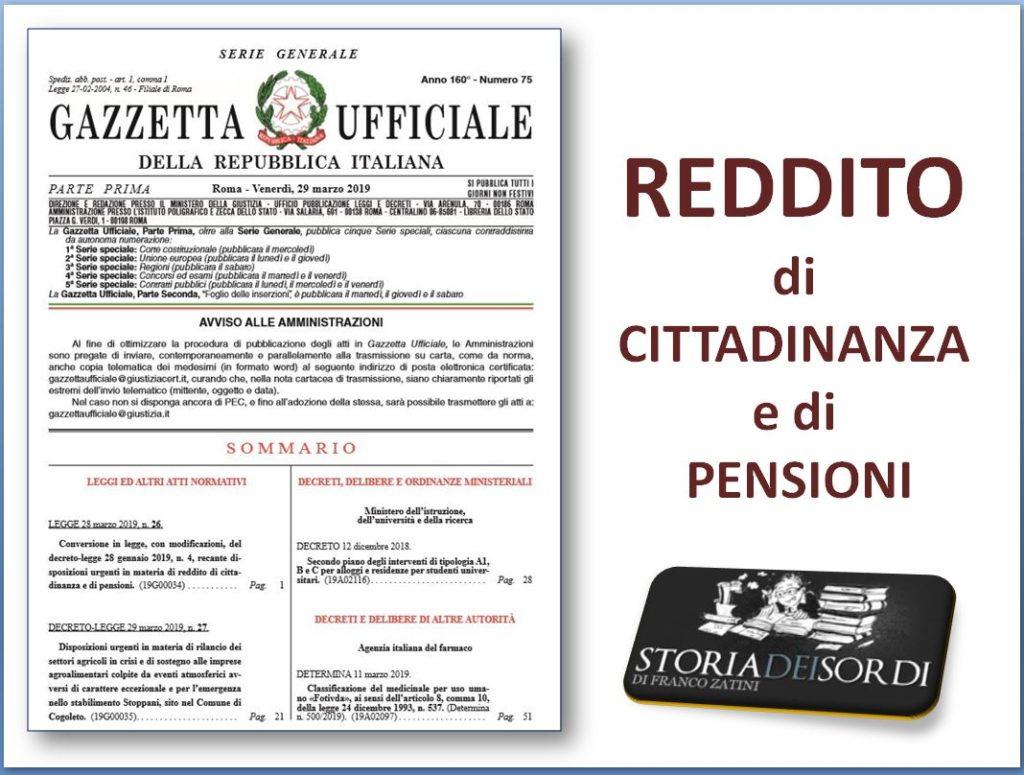 Reddito di cittadinanza e di pensioni 2019