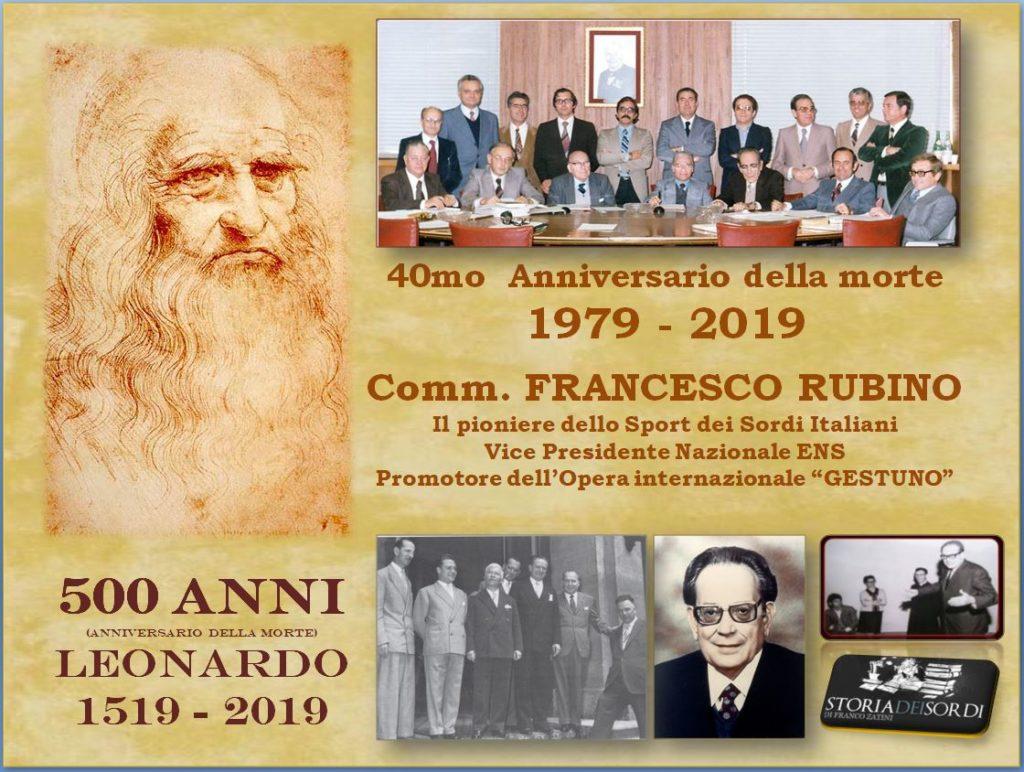 500 anni Leonardo. Francesco Rubino 40 anni della dipartita