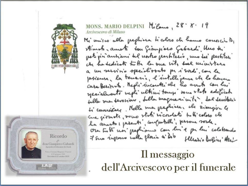 Messaggio Arcivescovo di Milano per il funerale di don Giampiero Gabardi