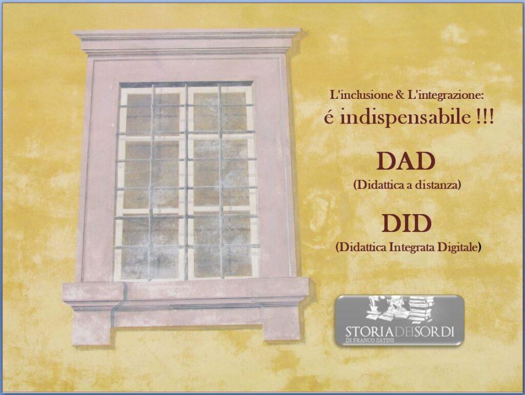 DAD Didattica a distanza DID Didattica integrale digitale