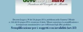 Decreto-Legge n.90 del 24 giugno 2014. Le semplificazioni e le persone con disabilità.
