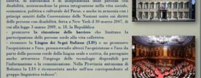 Documento ufficiale del 3° Convegno sulla Lingua dei Segni Italiana (Newsletter della Storia dei Sordi n.201 del 12 marzo 2007)